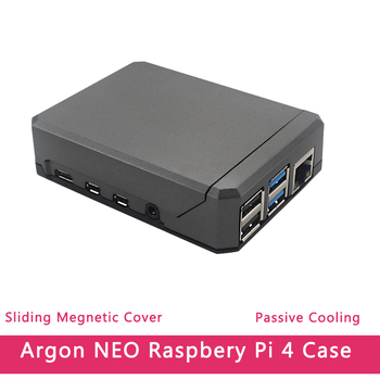 Argon NEO Raspberry Pi 4 Case Aluminum Metal Shell Sliding Magnetic Cover Passive Cooling Silicon Heat Sink  For RPi Model 4B