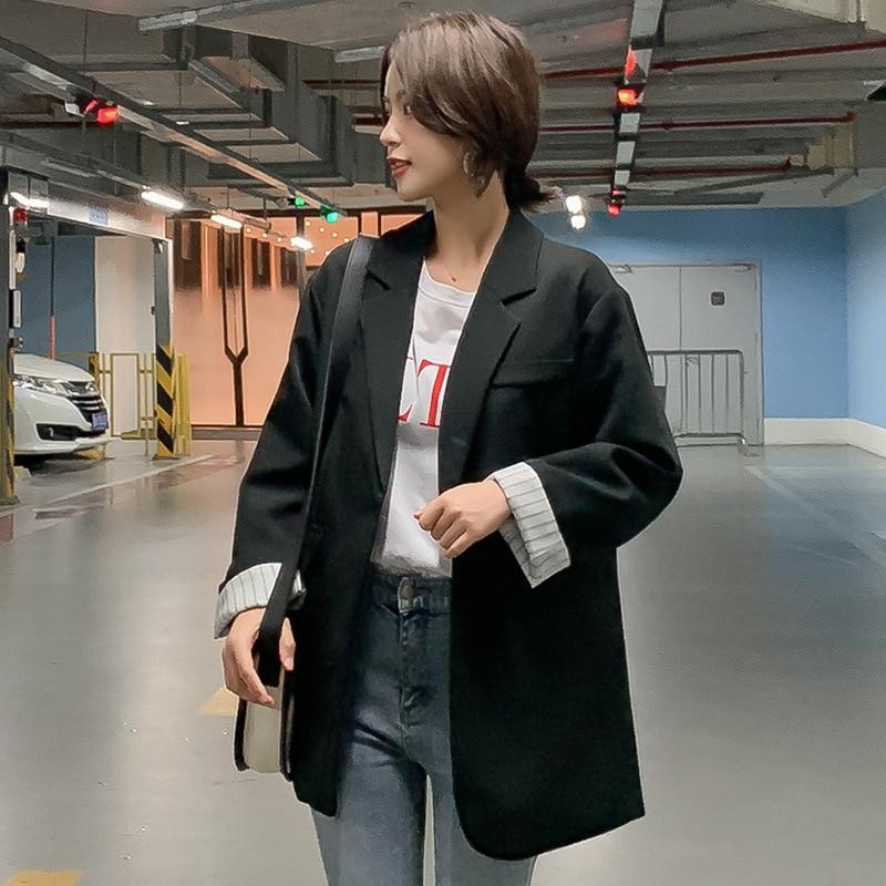 2020 new fall women's blazer Feminine jacket Casual loose mid-length ladies small suit coat Elegant women's clothing