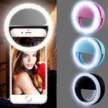 LED Selfie Ring Halo Clip Portable USB Charging LED Selfie Ring Fill Light Suitable for All Mobile Phones and Tablets