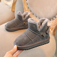 цены Boys Girls Warm Boots New Winter Children Shoes Ankle Boots Shoes Kids Snow Boots Children's Plush Warm Shoes Sneakers with Fur