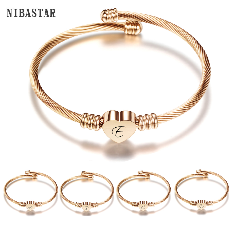 AKTAP Initial Bracelet Letter Bracelet Personalized Rose Gold Expandable Wire Bangle Bracelet K