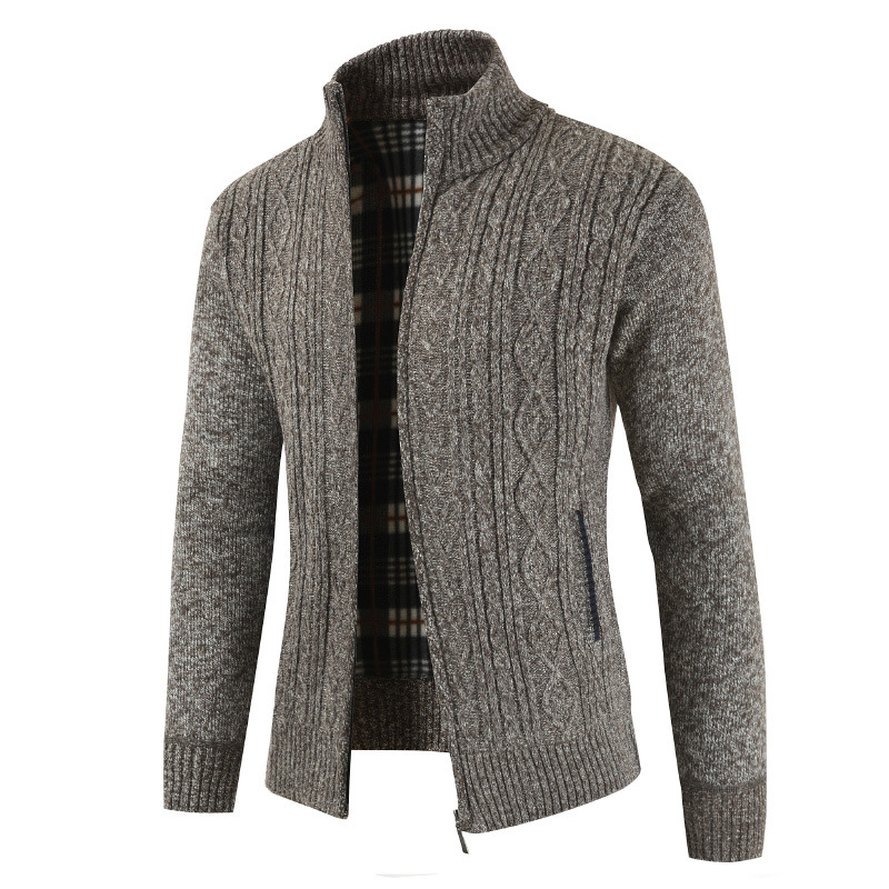 NEGIZBER Men's Sweater Fashion Wild Monochrome Sweater Casual Collar Plus Velvet Sweater Men