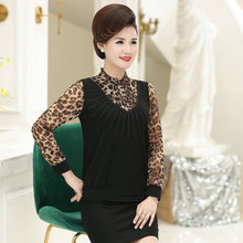 Spring Woman Chic Blouse Flower Leopard Chiffon Long Sleeve Patchwork Tops Mature Women Ruffle Collar Sequined Black Blouses New ruffle sleeve blouse