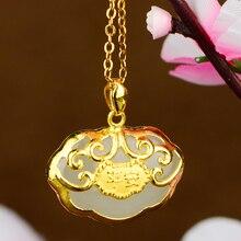 Gold überzogene Baby Goldene Lange Lebensdauer Lock Anhänger Jade Sternzeichen Anhänger Buddha Gong Halskette