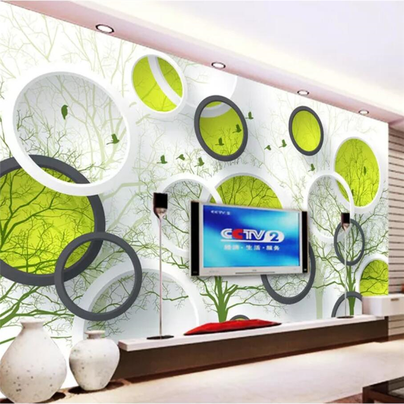 Customized Large Wallpaper Mural Abstract Tree 3D mural Circle TV Background wall papers home decor papel de parede 3d wallpaper