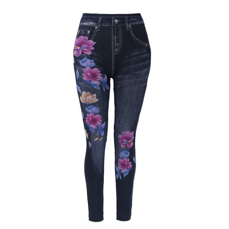 Модні тонкі жіночі легінси Floral Print Pencil Faux Джинсові джинси Легінси Повсякденні жіночі Одяг Plus Size Pencil Pants