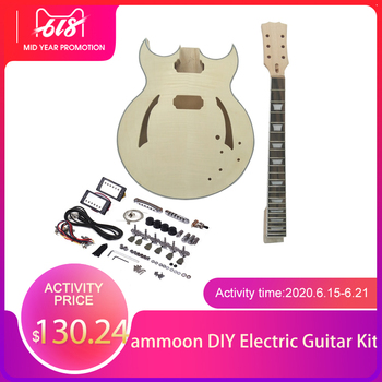 High quality ammoon Unfinished DIY Electric Guitar Kit Semi Hollow Basswood Body Rosewood Fingerboard Maple Neck tl style electric guitar diy kit map pattern veneer a grade beechwood body hard maple neck rosewood fingerboard set