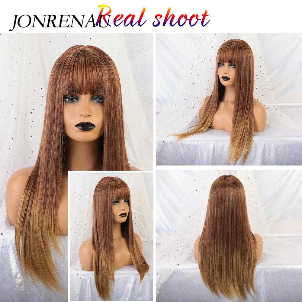 JONRENAU Women Fashion Synthetic Long Straight Brown Mixed Blonde Hair Wigs With Bangs For Black/White Women