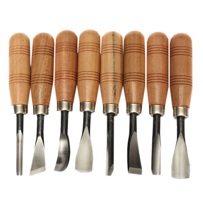 8Pcs/Set Woodpecker Dry Hand Wood Carving Tools Chip Detail Chisel Set Knives Tool