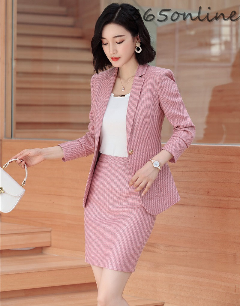 Novelty Pink Autumn Winter Professional Women Business Suits With Skirt And Tops For Ladies Office Work Wear OL Styles Blazers