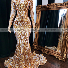 Long Sleeve High Neck Mermaid Prom Dresses 2020 African Blac