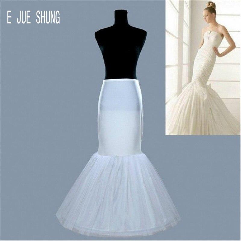 E JUE SHUNG Ivory Mermaid Wedding Petticoat Crinoline 1 Hoops Bridal Underskirt For Wedding Dress Wedding Accessories