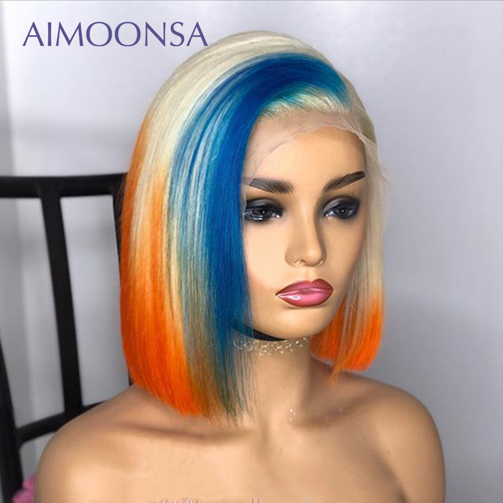 Colored Lace Front Wigs Human Hair Orange Blue Wig 613 Lace Front Wig Ombre Wig Blonde 13*6 Deep Part Straight BobRemy Aimoonsa image