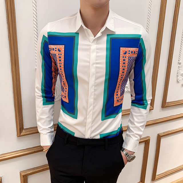 Large Size M-6XL 2019 New Mens Fashion Boutique Printed Casual Long-sleeved Shirt Design Dress Tuxedo Slim Fit Shirt Male 2