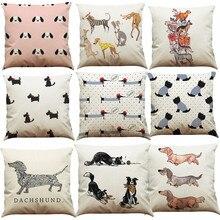Funda de almohada de algodón perro Vintage Cute divertido sofá cama coche cojín para cintura funda de almohada cuerpo decoración para el hogar 45x45cm Dropshipping/d
