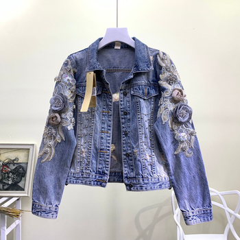 Heavy Technics Delicated Three-dimensional Flowers Pearls Embroidery Beading Broken Holes Denin Jacket Women Fashion Denim Coats stars big fashions women strong sparkling diamonds pearls patchwork denim coats female stage show cool beading jeans jacket coat