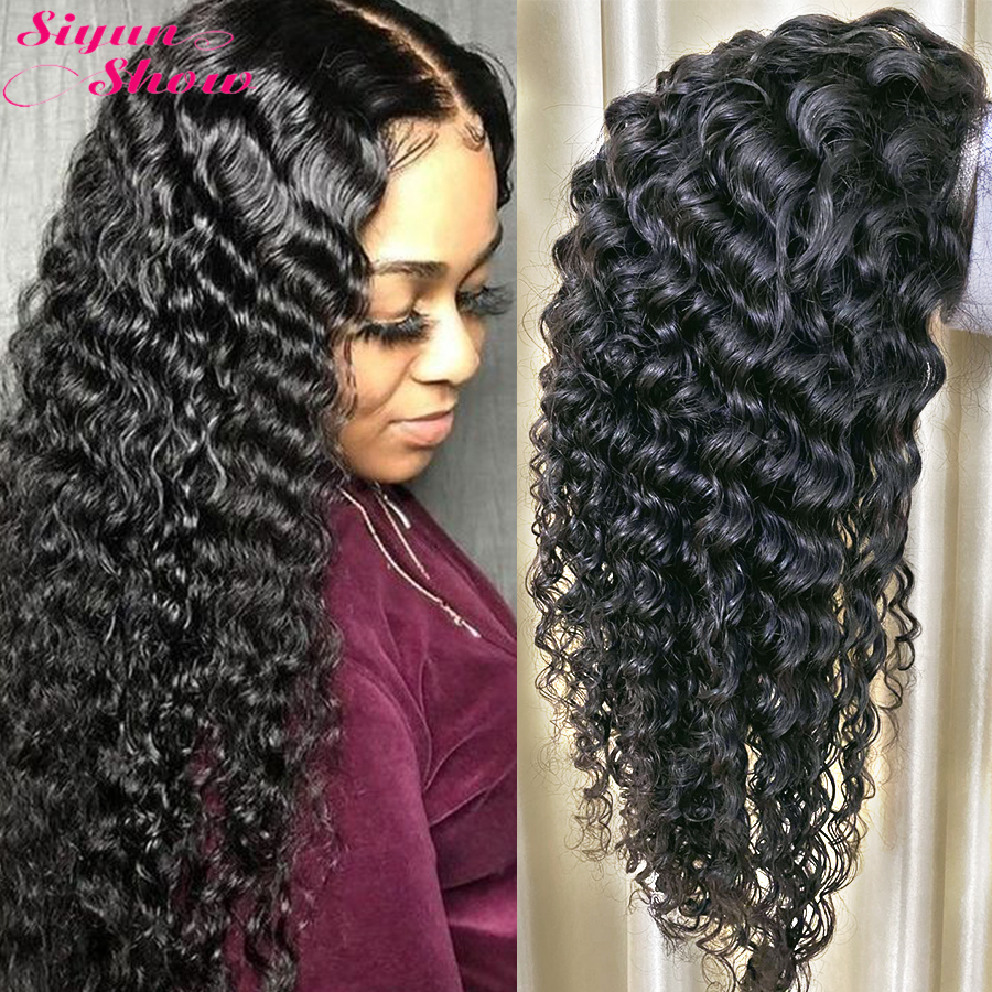 Siyun Show Malaysian Curly Human Hair Wig Small /Medium/Large Size Deep Wave Curly Lace Front WIg Wet And Wavy Full Frontal Wig