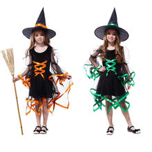 2019 Kedatangan Baru Halloween Pesta Anak Cosplay Kostum Penyihir untuk Gadis Halloween Kostum Pesta Halloween Witch Dress Di Hat(China)