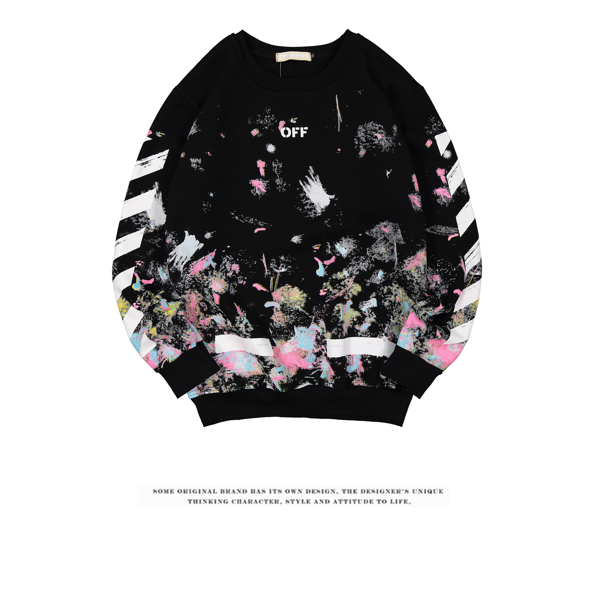 2018 Europe And America Popular Brand New Style Autumn & Winter Fireworks Star Plus Velvet Handsome Youth Casual Pullover Hoody