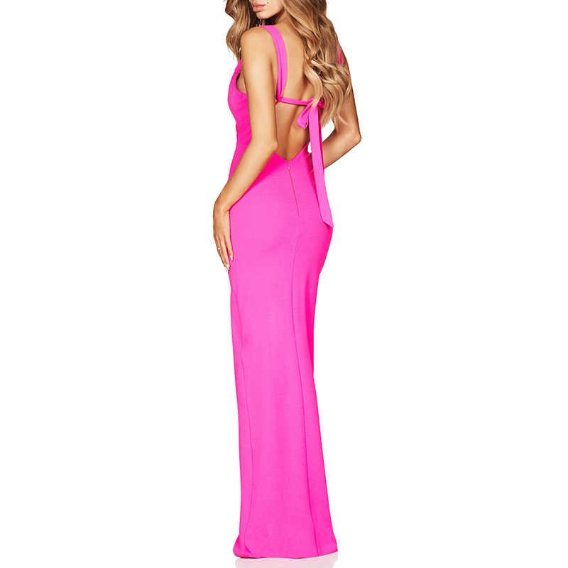 Beateen Verband Kleid Lange V-ausschnitt Ärmellose Backless Fishtail Hochzeit Abend Party Frauen Kleider Maxi Kleid 2018 Vestidos Kleid