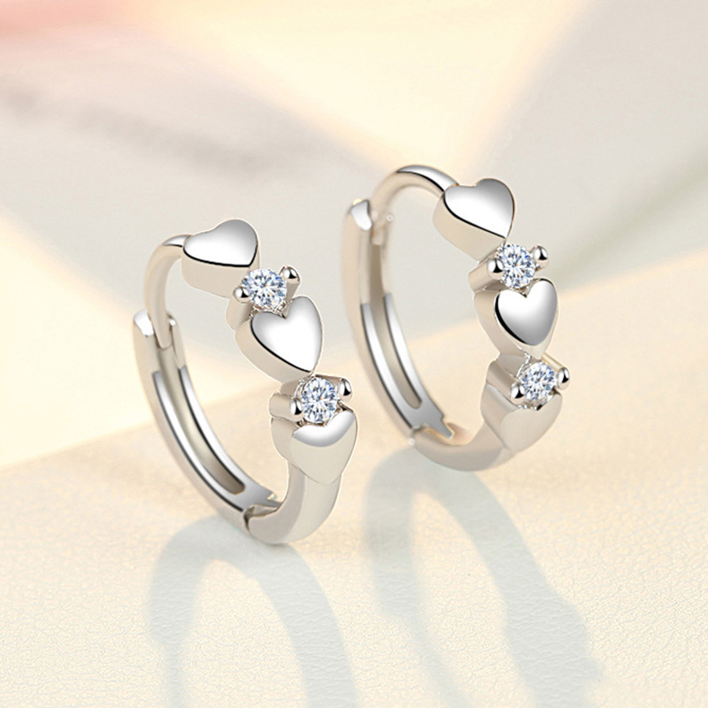 925 Sterling Silver Crystal Heart Stud Earrings for Women Gril Kids Bijoux Fashion Jewelry Pendientes Mujer Moda eh1343