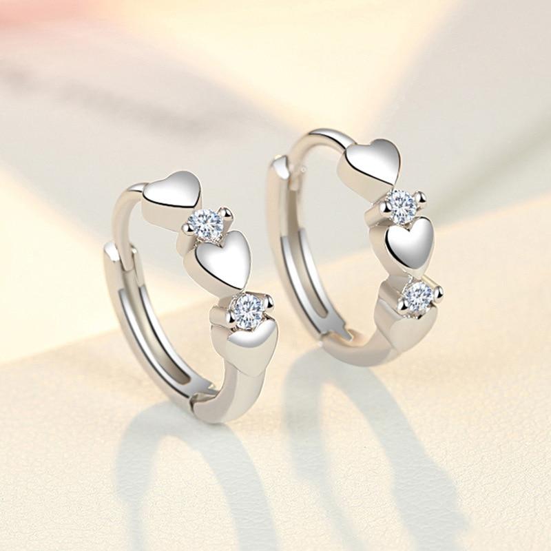 925 Sterling Silver Crystal Heart Stud Earrings For Women Gril Kids Bijoux Fashion Jewelry Pendientes Mujer Moda Eh1343