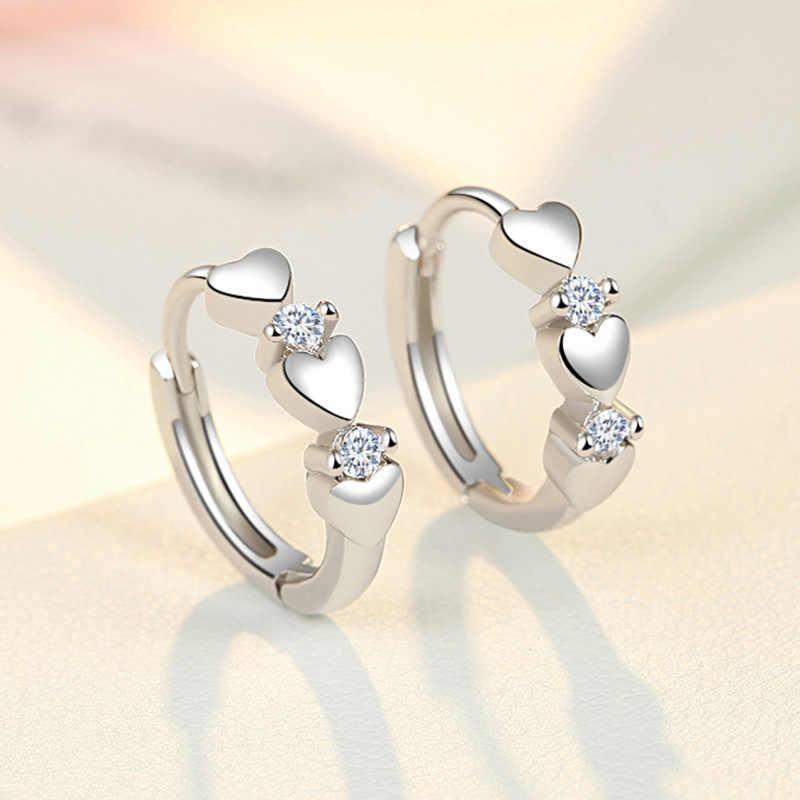 Clásico Zirconia Pendientes de corazón de cristal para mujeres Niñas Regalo Plata Esterlina 925