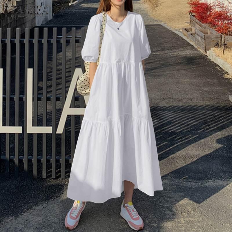 ZANZEA Summer Dress 2021 Women's Sundress Vintage Lantern Sleeve Solid Mid-Calf Dress Casual Bohemian Beach Vestidos Plus Size