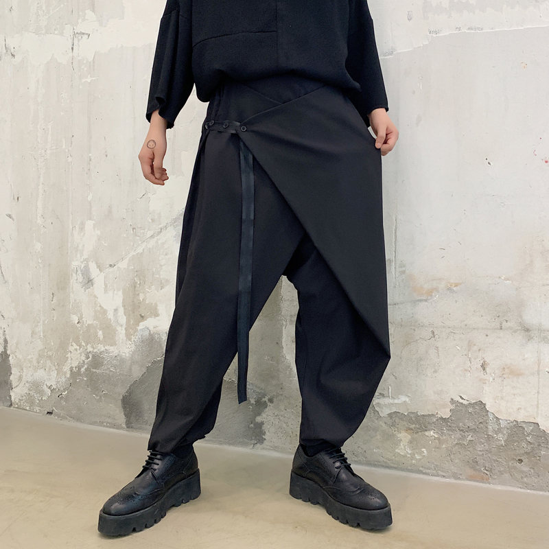 Men Ribbon Splice Loose Casual Black Cross Trousers Male Japan Streetwear Hip Hop Punk Gothic Harem Pants
