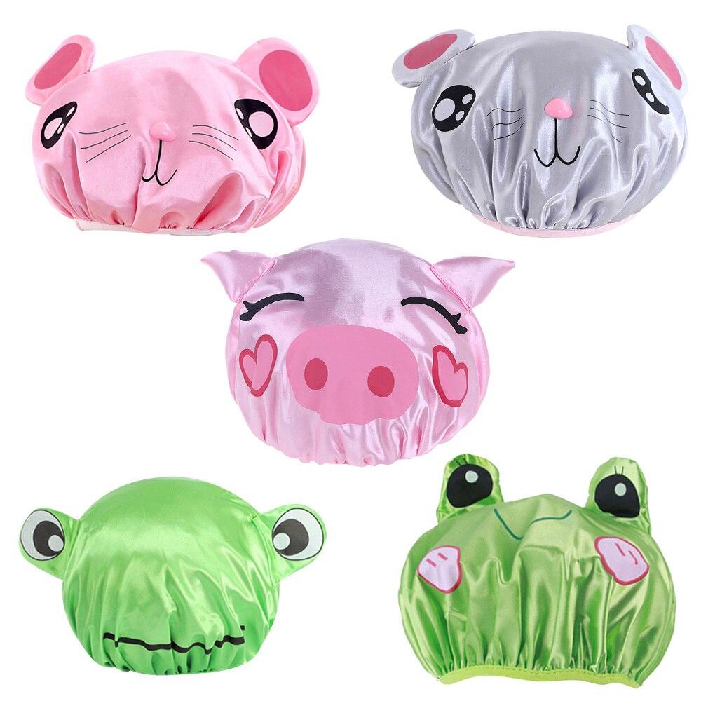 Двухслойная детская Водонепроницаемая шапка для душа из ПВХ с рисунком маленькой мышки и розовой свиньи, атласная шапка для купания, шапка ...