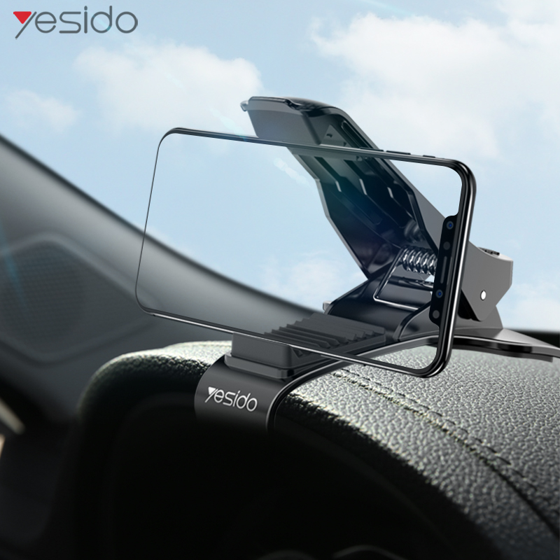 Yesido C65 Dashboard Car Phone Holder ABS Clip Mobile Phone Stand Holder For Samsung Iphone GPS Adjustable View Angle Mount