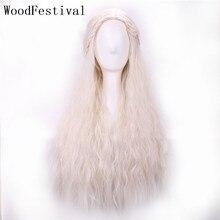 WoodFestival Peluca de pelo rizado de película trenzada para mujer cabello sintético resistente al calor, Rubio, Cosplay