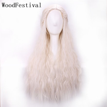 WoodFestival Real picture Movie braid Styled Long Curly Cosplay Wig Blonde Heat Resistant Women Synthetic Wigs