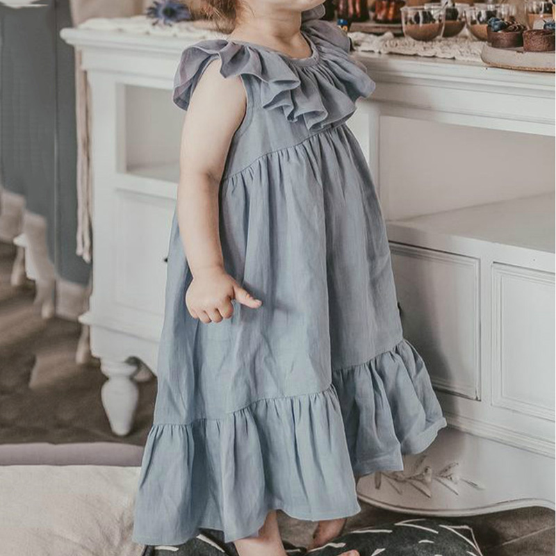 Children Cute Blue Loose Dresses 2021 New Comfortable Ruffle Floral Dress Summer Sleeveless Baby Girls Casual Dress Kids Clothes