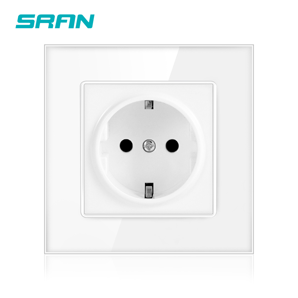 SRAN-toma de corriente de 16A, toma de corriente estándar de la UE, 86mm x 86mm, toma de pared con Panel de cristal blanco
