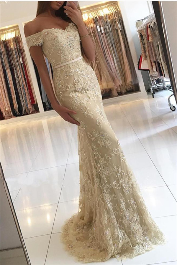 Backless   Prom     Dress   2019 Mermaid Off The Shoulder Appliques Lace Beaded Long   Prom   Gown Evening   Dresses   Robe De Soiree