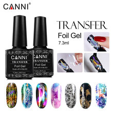 Canni Transfer Foil Gel Cat Kuku Logam Warna Pernis UV LED Gel Lacquer Bintang Lem Cap Gel Foil Bling Kuku seni Dekorasi(China)