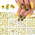 12 шт., наклейки для ногтей с подсолнухами, цветные наклейки для ногтей, переводные наклейки для ногтей, Слайдеры для девочек, украшения для м...
