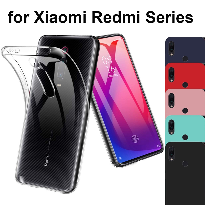 Clear TPU Soft Silicone Case For Xiaomi Redmi Note 8 Pro 7 8A 6 S2 Note Skin Red Black Scrub Cover Redmi K30 K20 7 Go Note 5
