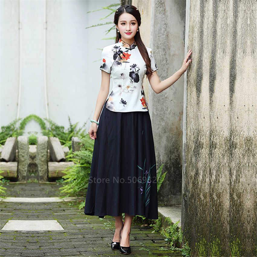 중국 전통 Cheongsam 탑 셔츠 여성 플러스 크기 4XL Qipao 꽃 인쇄 블라우스 아시아 스타일 고대 우아한 의상