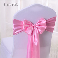 50pcs Satin Wedding Chair Sash Bow Tie Satin Ribbon Chair Bands for Wedding Decoration Hotel Party Supplies  17*275CM