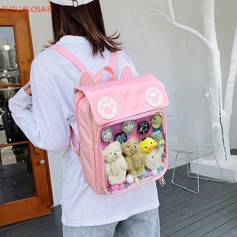 2020 Women Cute ITA Bag Wih Cat Bagging Backpacks Paws School backpack for teenager girls transparent backpack Clear Itabag H204