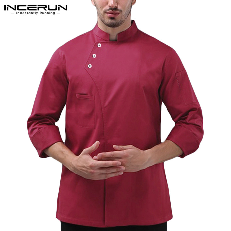 INCERUN Men Chef Uniform Restaurant Food Service Cooking Tops Solid Long Sleeve Stand Collar Kitchen Jackets Mens Costumes 2020