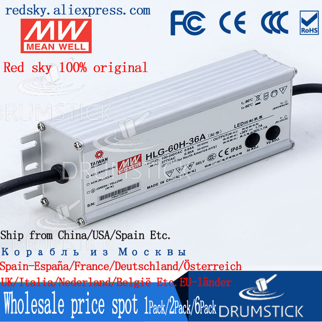 Sabit ortalama kuyu HLG 60H 36A 36V 1.7A meanwell HLG 60H 61.2W tek çıkışlı LED sürücü güç kaynağı A tipi