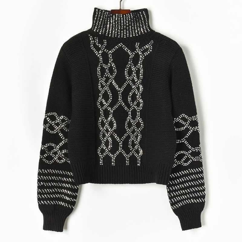 새로운 2019 가을 겨울 여성 두꺼운 스웨터 거북이 니트 풀오버 럭셔리 다이아몬드 스트라이프 스팽글 하이 스트리트 점퍼 탑