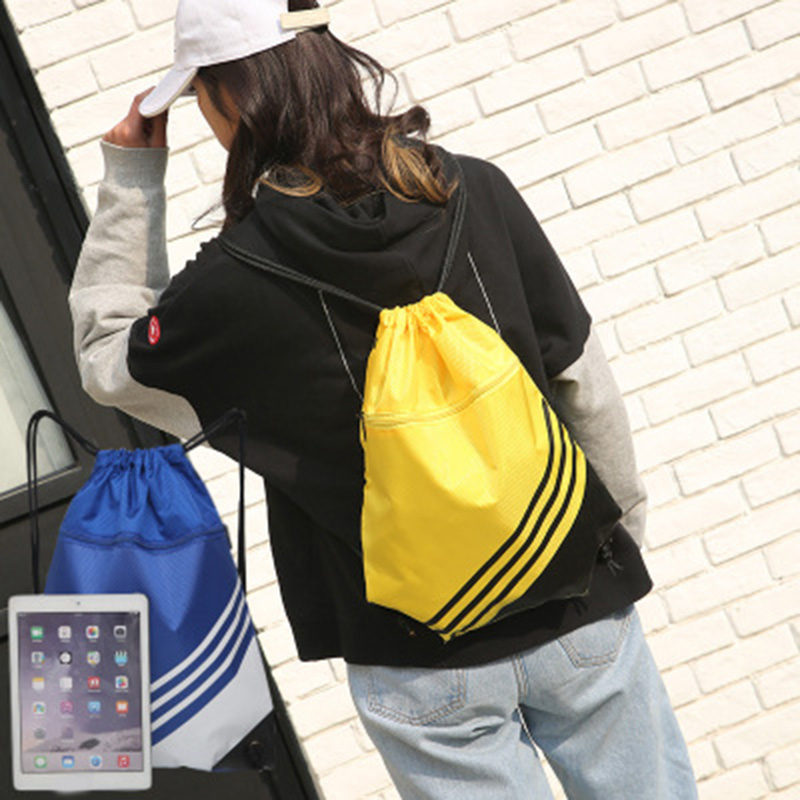 Double Color Stitching Stripe Drawstring Bag Travel Backpack Sports Backpack Men Women Waterproof Nylon Storage Bag K-BE