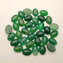 fashion Natural Green Agate Carnelian Bead Cabochon 13x18 Oval Gem Stone Cabochon Ring Accessories Face,24pcs/lot Free shipping(China)