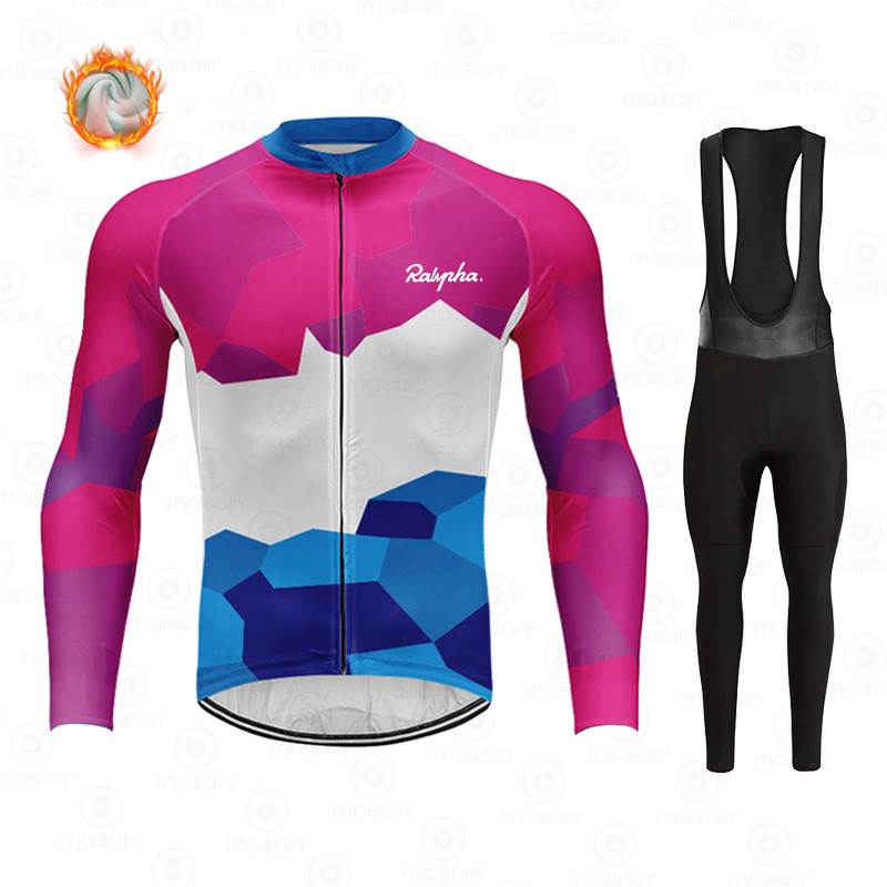 Ralvpha Winter Fleece Cycling Sets Ropa Ciclismo Men's Cycling Top Jerseys Outdoor Bike Bicycle Long Sleeve Clothing Suits 3