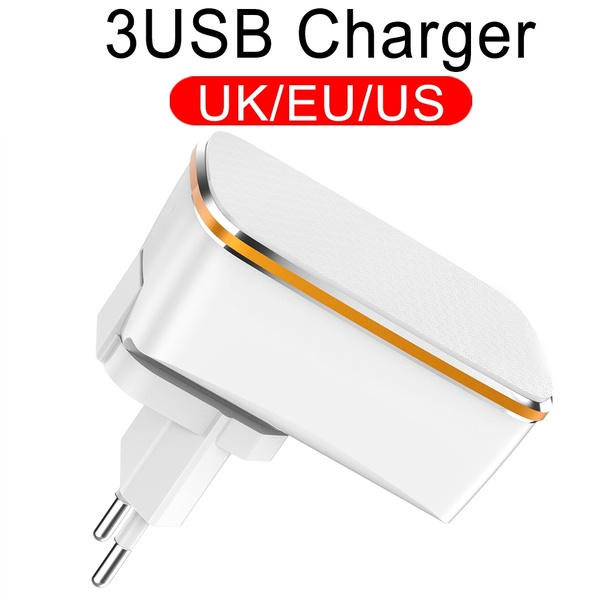 Universal 3 Port USB <font><b>Charger</b></font> Quick Fast Charge for IPhone Android Tablet Travel Adapter Wall <font><b>Charger</b></font> Adapter Portable EU Plug image