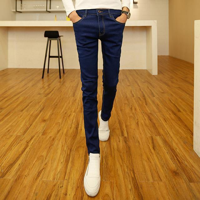 Spring And Autumn Elasticity Jeans Men Spring Versatile Black Casual Pants Youth Korean-style Trend Tight Trousers
